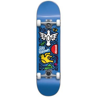 """ALMOST Sky Doodles Skateistan 7.5"""" FP Complete Skateboard blue"""
