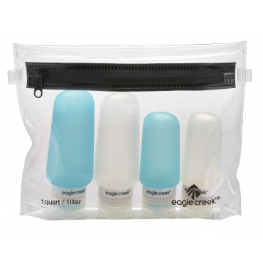 EAGLE CREEK Silicone bottle set clear/ aqua