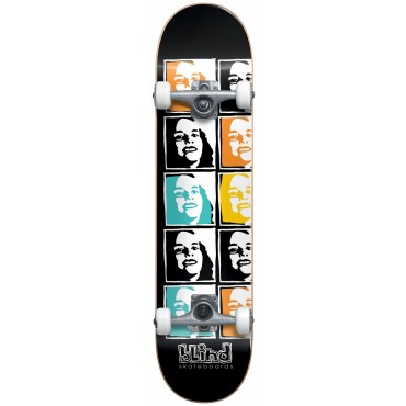 """BLIND Psychedelic multi girl FP Complete with soft wheels Skateboard 7,625"""" black"""