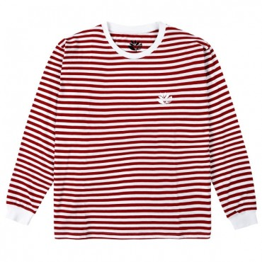 MAGENTA Striped Plant L/S Tee Red & White Large